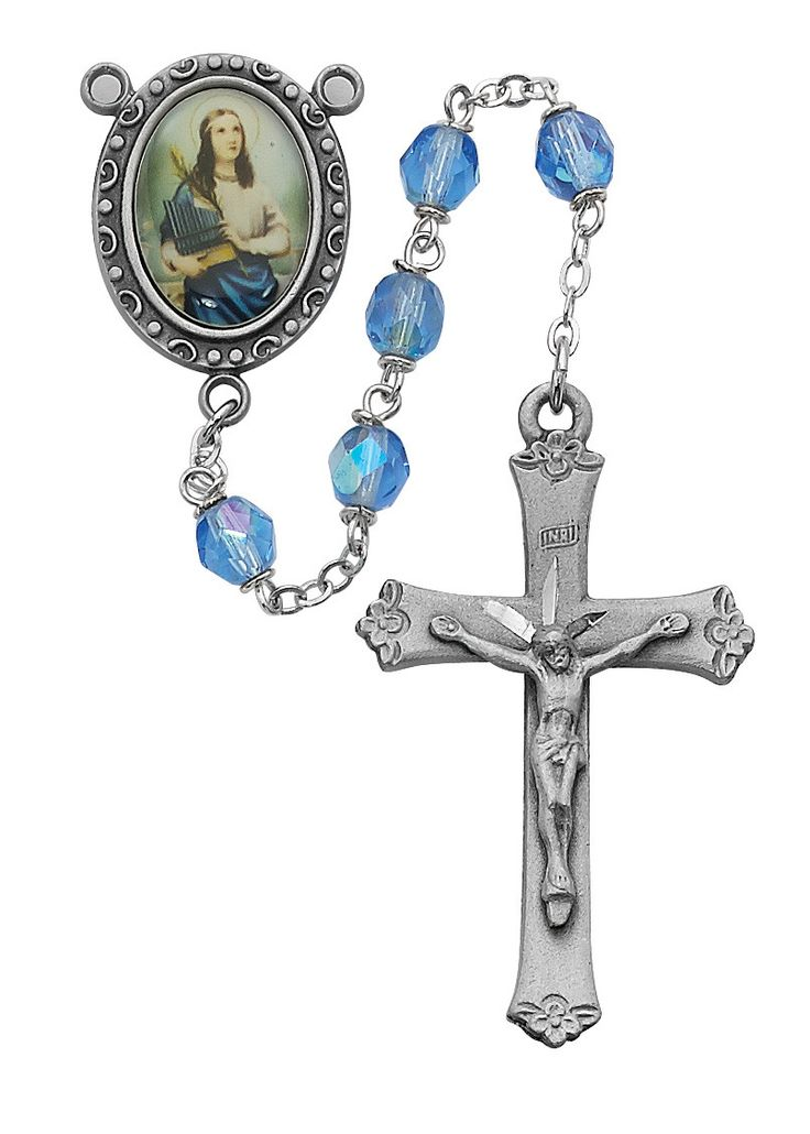 Blue St Cecelia Rosary Boxed
