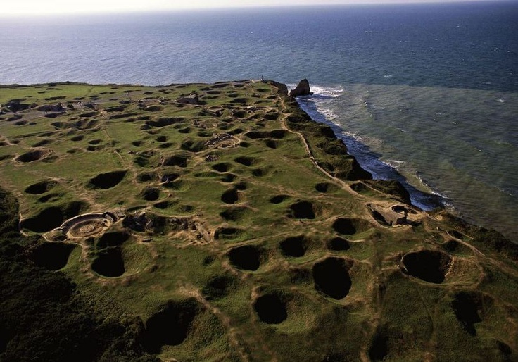 Modern day view of Pointe du Hoc. Shows the intensity of the fighting here during the Normandy invasion in 1944.