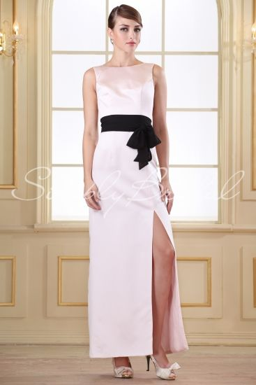 Long Length Fitted Satin With Contrast Sash #simplybridal #bridesmaid #dress #satin