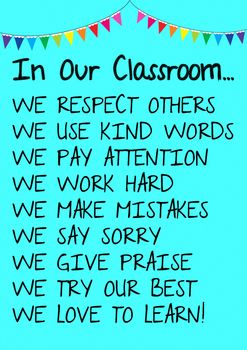Classroom Rules DisplayIdea originally from: http://www.happygoluckyblog.com/2013/05/in-our-classroom-free-printable.html  However I've added in a few more quotes and made it larger for classroom bulletin board display.