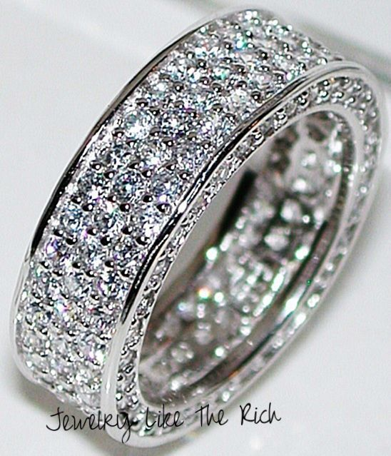4.25ct Sim Diamond ETERNITY Anniversary Ring 8mm Wide Band 925 Sterling Silver 8