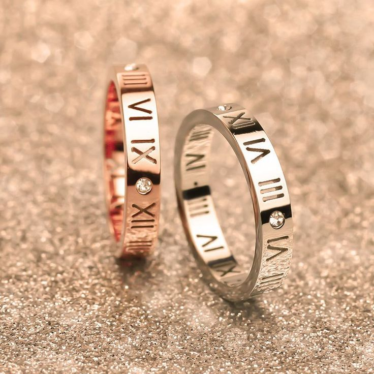 Luxury Celebrity Roman Numerals Promise Rings