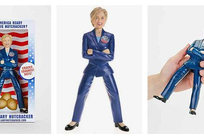 """Vox.com 11/12.14 Urban Outfitters is now selling Hillary Clinton """"nutcracker"""" dolls. """"They don't make 'em like this anymore,"""" the web site brags. """"This deadstock collector's item is only available in a limited supply."""" The doll — which Urban Outfitters has sold before — costs $60."""
