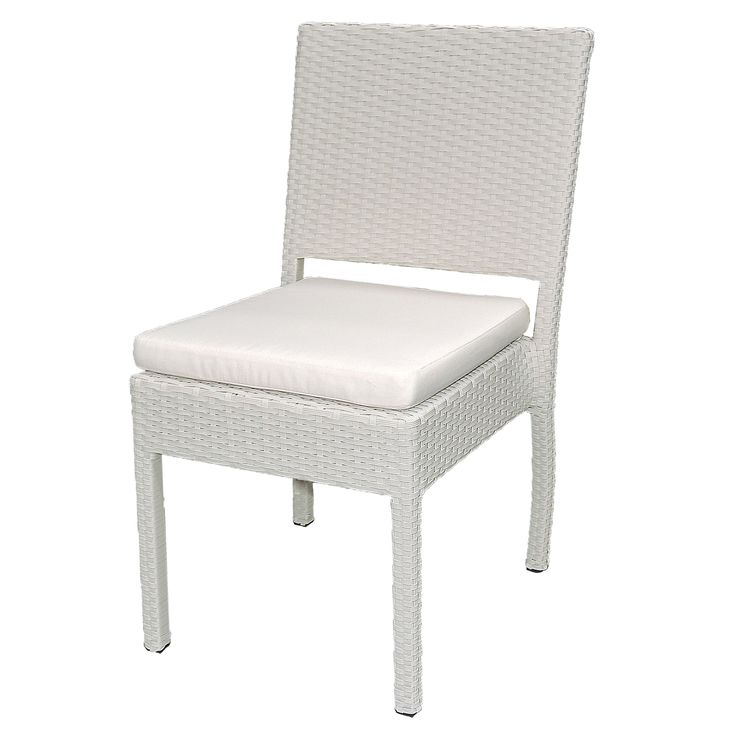 Wicker outdoor dining chair with cushion.