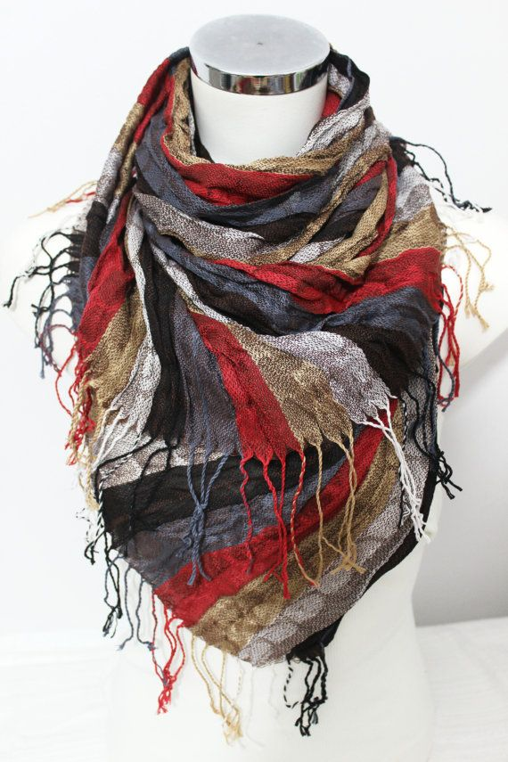 Men Linen scarves Red Gray Scarf Ethnic scarves by Nazcolleccolors