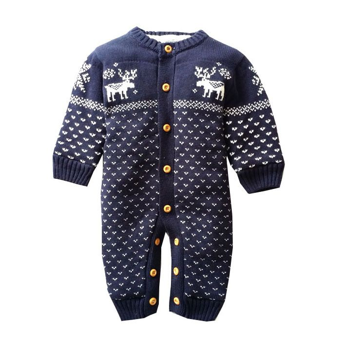 Winter Thick Baby Rompers Newborn Climbing Clothes baby Boys baby Girls Warm Romper Knitted Sweater Christmas Deer Outwear