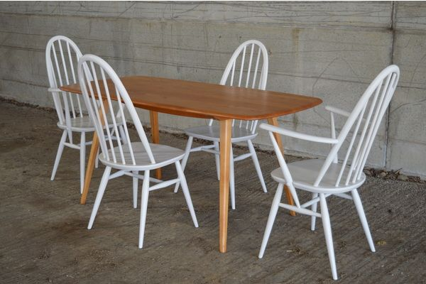 Ercol:  Vintage Dining Table And Four Painted Quaker Chairs | vinterior.co
