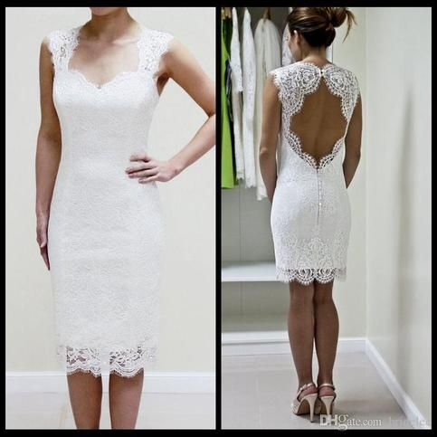 Lace Wedding Dress With Scalloped Keyhole And Sweetheart Neckline Custom Made Short Wedding Dress Reception Dress