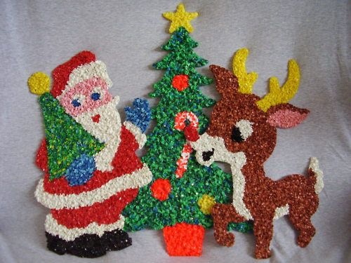 Christmas decorations are made from bits of melted plastic, that resembles the texture of popcorn. They were available at most hardware stores and garden centers from the late 1950s right through to the mid-1980s.  Find 'em on ebay