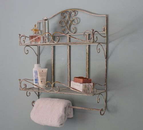Cream Rustic Style Bathroom Wall Shelf And Towel Rail Holder Metal Kitchen