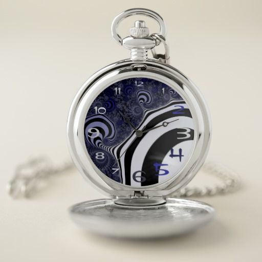 Blue and black striped fractal. pocket watch #pocketwatch #customized, personalized, artwork, buy, sale, #giftideas, #zazzle, shop, discount, deals, gifts, shopping, abstract, antenna, art, artwork, bee, black, #blue, bright, cold colors, computer, cool colors, duotone, #fractal, fractal art, fractal artwork, generated, illustration, julia, light, locator, mandelbrot, pattern, paw, square, striped, suction, white, strip, dark, funny strips, modern