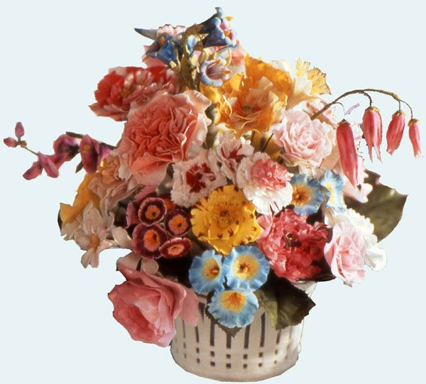 Sugar flowers: A very rare Sèvres porcelain basket filled with some of Ivan Day's re-creations of eighteenth century pastillage flowers.