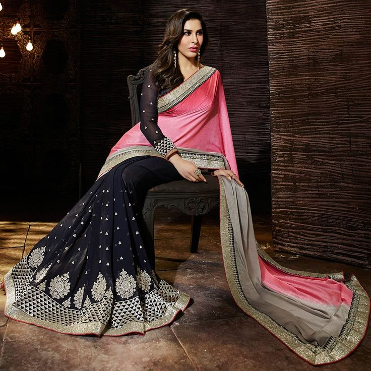 Exotic Black, Coral Pink and Dusty Grey #Saree