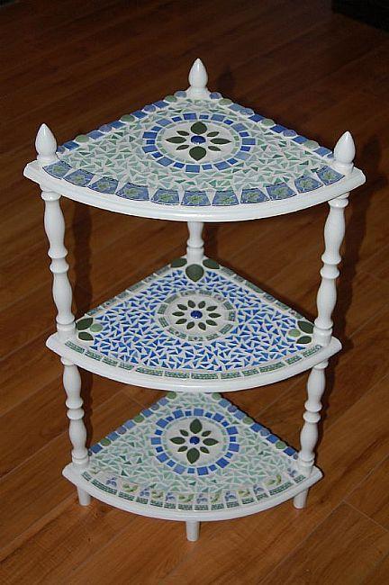 3-Tier Pique Assiette Mosaic Table by Artist Donna Coogan