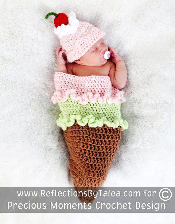 ICE CREAM CONE Cocoon and Beanie Hat Set Crochet Newborn Baby Photo Prop