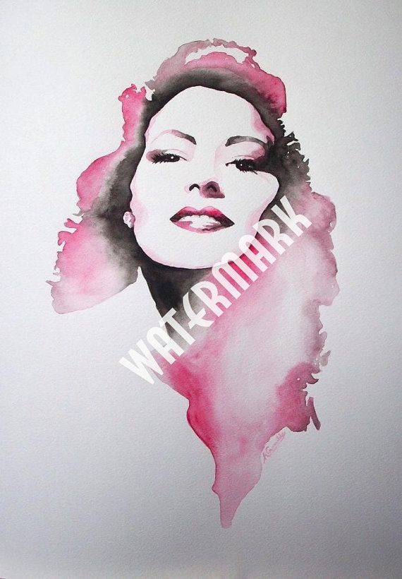 Ava Gardner, original watercolour (not print) on 300g paper. A3 approx: 11.5x16.5inch/30x42cm. FREE SHIPPING $80.00 USD