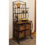 Iron & Wicker Bakers Rack - Give your home a contemporary update with this bakers rack that combines two different materials for an engaging decor element. The black iron frame...