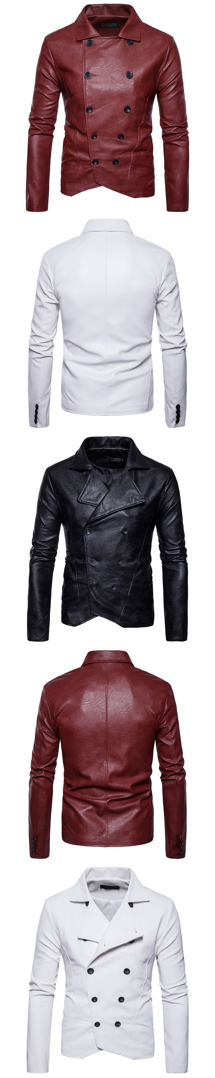 Foreign trade new men's kawadate locomotive collar and the wind fold zipper button leather coat