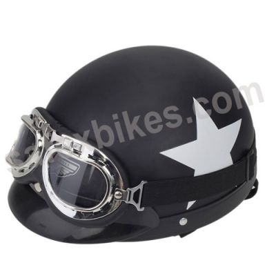 Buy MOTORCYCLE HELMET WITH GOGGLES DETACHABLE VISOR STAR PATTERN BLACK 55-60 CM On Special Discount From Safexbikes.com - Motorcycle Parts And Accessories Online Shopping