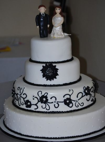 Black ad White Cake with Custom Bride and Groom Topper