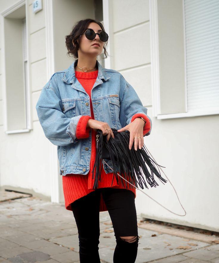 Zara Red Oversize Sweater roter pullover look ivyrevel choker halsband jeansjacke grunge style punk casual edgy look tezenis german fashionblog streetstyle blog berlin samieze deutschland-11