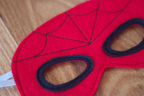 Spiderman Mask Felt Superhero Mask by Stitchandwillow on Etsy