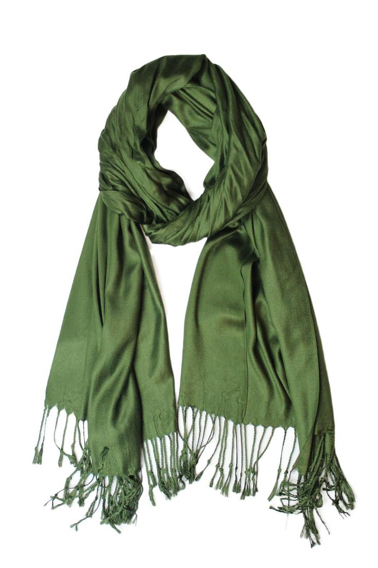 """A super soft and timeless classic, wear this pashmina as a scarf or shawl for formal events.    Measurement: 78"""" Long 32"""" Wide   Olive Cashmere Pashmina by Carte Blanche. Accessories - Scarves & Wraps Vancouver, Canada"""