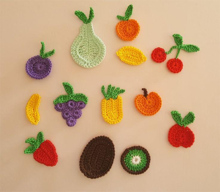 Lot de 12 appliques fruits au crochet : Autres pièces pour créations par atelier-crochet