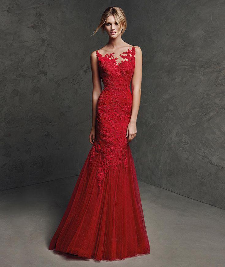 Laural, Vestido de fiesta color rojo, escote barco                                                                                                                                                                                 Más
