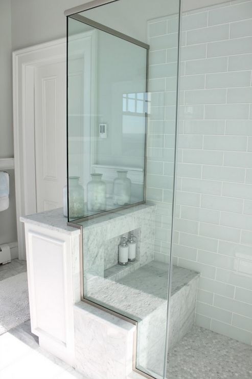 Bathroom - Molly Frey Design: Pretty pale blue glass shower tile in brick pattern with carrara marble seat and carrara ...