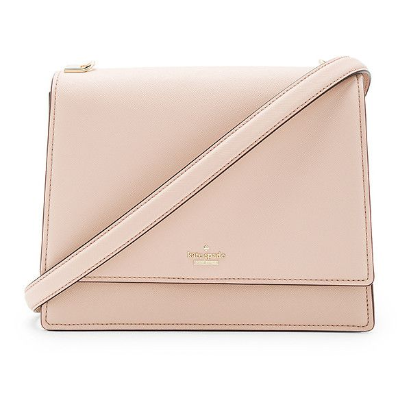 kate spade new york Sophie Long Shoulder Bag ($180) ❤ liked on Polyvore featuring bags, handbags, shoulder bags, leather shoulder handbags, man bag, pink shoulder bag, leather purses and kate spade handbag