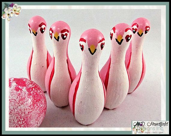 Pink Penguin Wooden Tabletop Bowling Pin 4 inch high