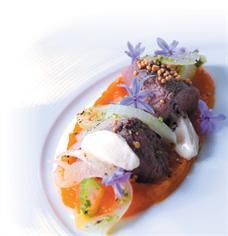 Food & Home Entertaining | Jodi-Ann Pearton's seared ostrich with butternut purée, avocado oil emulsion and pickled fennel salad