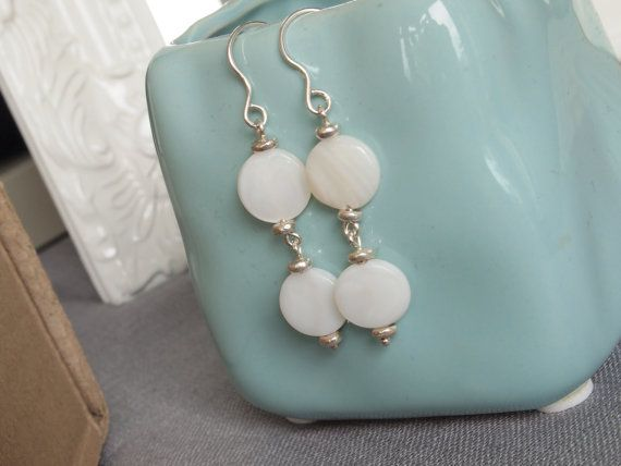 White Earrings, Sterling Silver Ivory Shell Dropper Earrings, Dangle Earrings on Etsy, $33.68