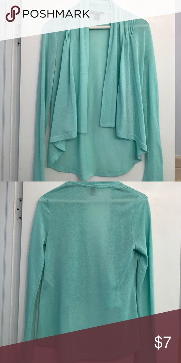 High Low Teal Cardigan Light cardigan. Higher in the front than in the back. Pale teal color perfect for summer. Full length sleeves. Forever 21 Sweaters Cardigans