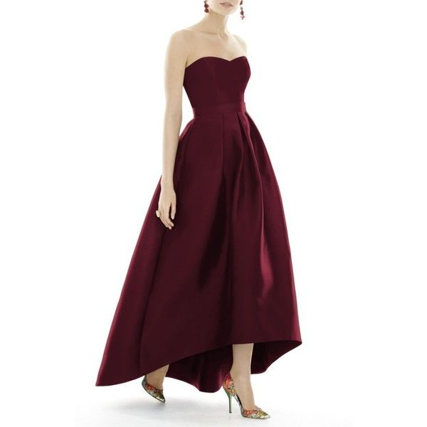 Women's Alfred Sung Strapless High/low Sateen Twill Gown ($218) ❤ liked on Polyvore featuring dresses, gowns, burgundy, fitted gowns, burgundy fitted dress, pleated dresses, burgundy evening gown and burgundy evening dress