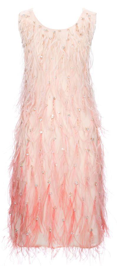 Tubino in piume rosa Pinko