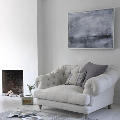 What a great big chair to curl up in! Summerleaze canvas print with Bagsie armchair in thatch Loaf.com
