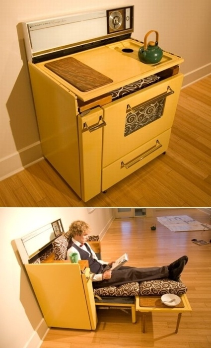 rePurpose oven/range into a lounge chair. Now that's thinking outside the box!