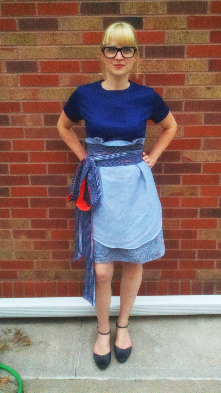 skirt with tie belt re-invented from mens button-ups