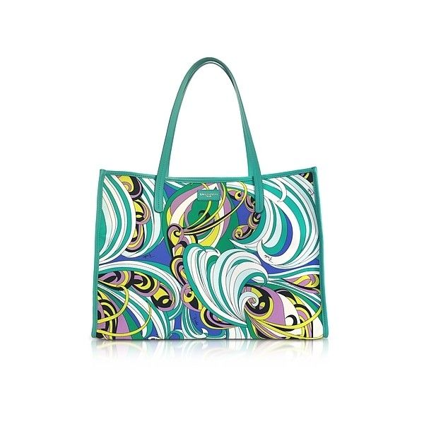 Emilio Pucci Handbags Turquoise and Mint Green Fabric Tote Bag ($715) ❤ liked on Polyvore featuring bags, handbags, tote bags, turquoise, beach tote bags, white beach tote, turquoise purse, white handbag and white hand bags