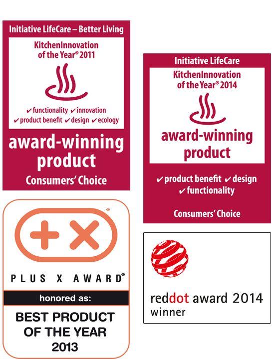 """Premios: Los cuchillos profesionales AMC han sido votados """"Kitchen Innovation of the year 2014"""" y """"Mejor producto 2013"""". Excelente calidad, funcionalidad y un diseño atractivo son los tres premios por los que han sido galardonados. En 2011, con el lanzamiento del sistema de cocción AMC Premium recibimos el galardón a la """"Innovación de la Cocina 2011""""."""