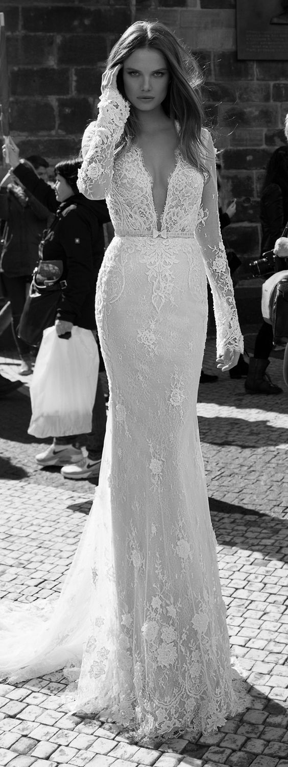 Lace Wedding Dress with Long Sleeves by Berta Bridal Fall 2015 / http://www.deerpearlflowers.com/deep-plunging-v-neck-wedding-dresses/