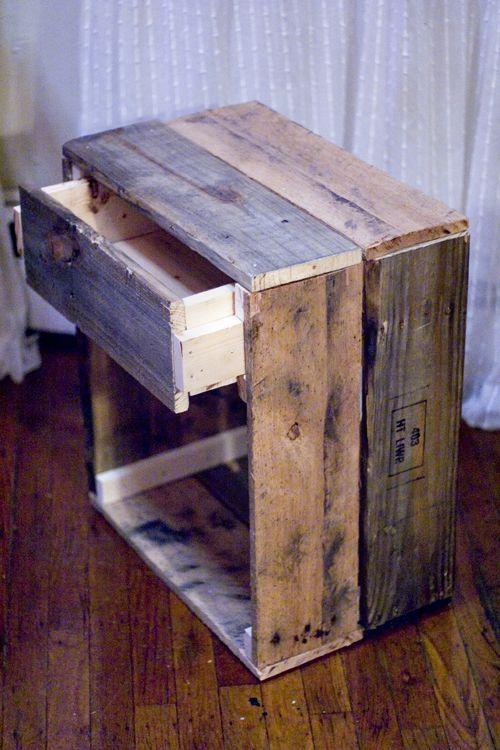 Hmm.. Something new for Chris to make???  Reclaimed wood side table idea from black oak vintage blog.