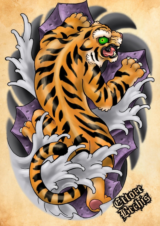 Tiger TATTOO Flash Color Things I Like Pinterest