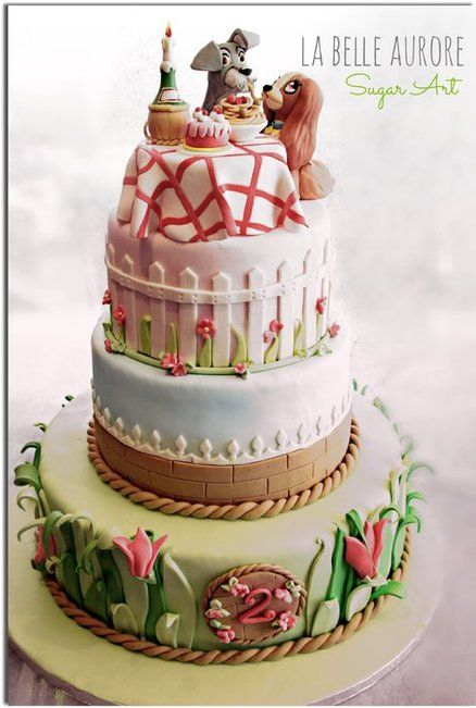 Lady and the Tramp - by LaBelleAurore @ CakesDecor.com - cake decorating website