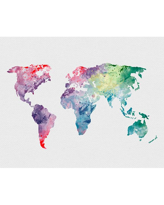 101 best maps images on pinterest maps history and cards world map 1 watercolor art print gumiabroncs Choice Image