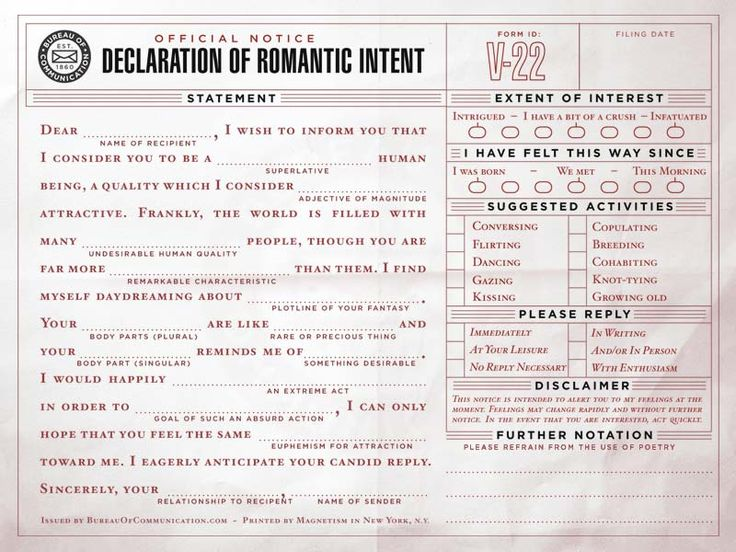 Declaration of Romantic Intent, how awesome would it be to get one of these!!