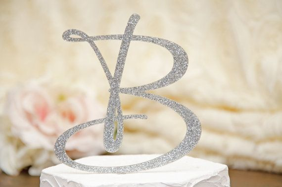 Personalized Monogram Glitter Wedding Cake Topper - 6 Inch Monogram Letter Cake Topper on Etsy, $26.00