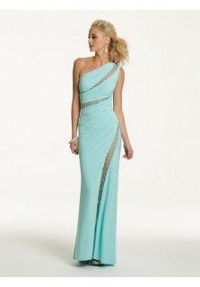 Etui-Linie aus Chiffon 1-Schulter Reißverschluss Bodenlang Blau Elegante Abendkleider lang #BK153